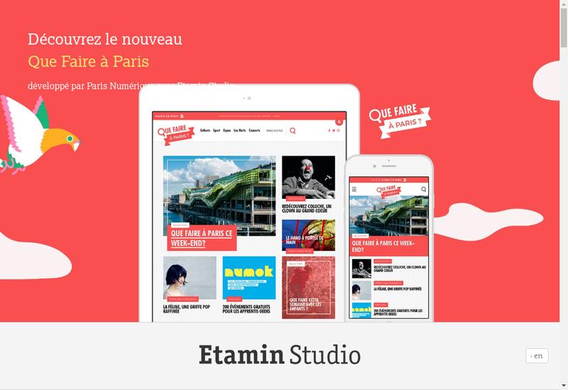 Capture d'écran du site de Etamin Studio