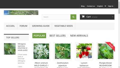 Capture d'écran du site de Ethnoplants
