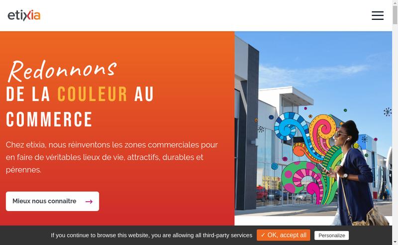 Capture d'écran du site de Etixia