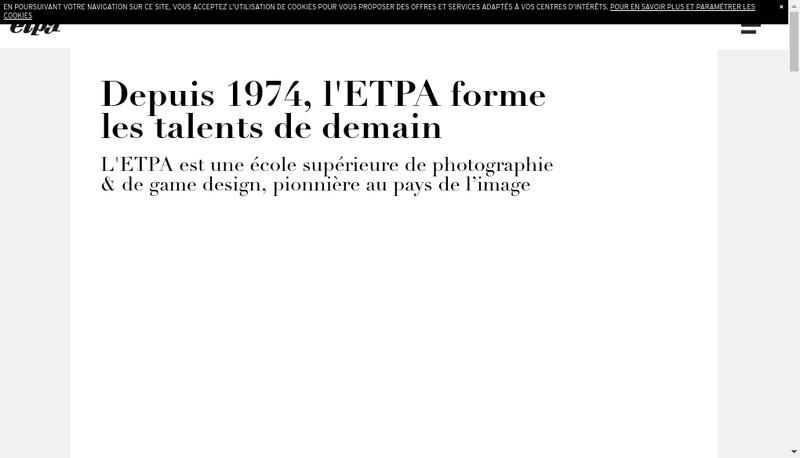 Capture d'écran du site de ETPA