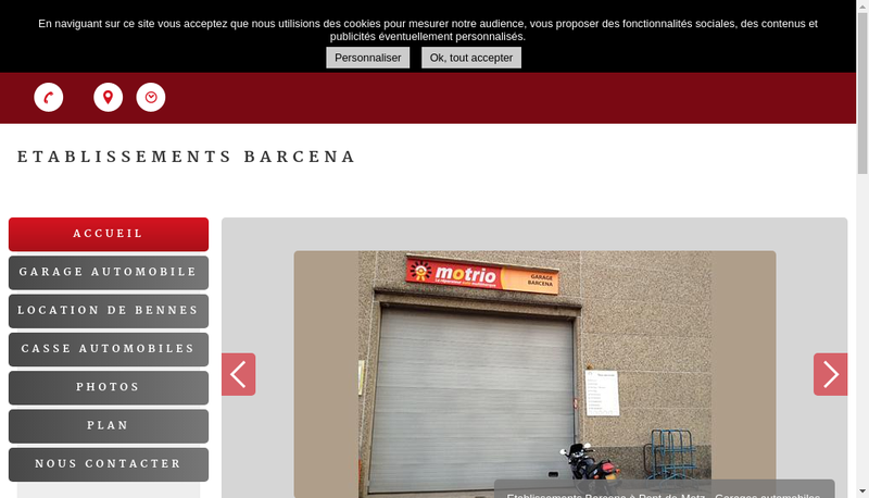 Capture d'écran du site de Etablissements Barcena