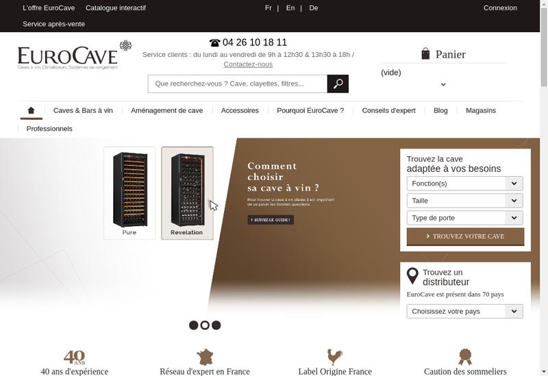 Capture d'écran du site de Eurocave