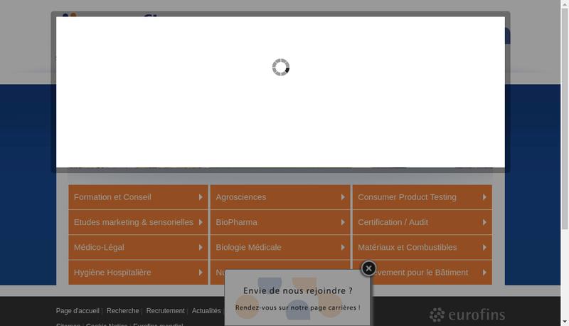 Capture d'écran du site de Eurofins Hydrologie Ouest
