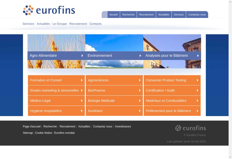 Capture d'écran du site de Eurofins Ats