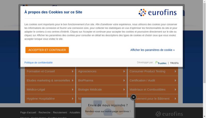 Capture d'écran du site de Eurofins Pharma Quality Control