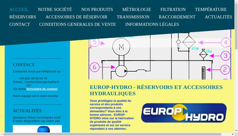 Capture d'écran du site de Europ Hydro