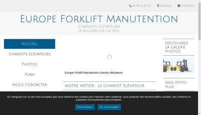Capture d'écran du site de Europe Forklift Manunention