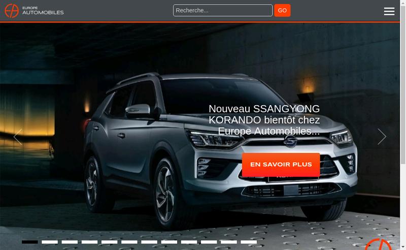 Capture d'écran du site de Europe Automobiles
