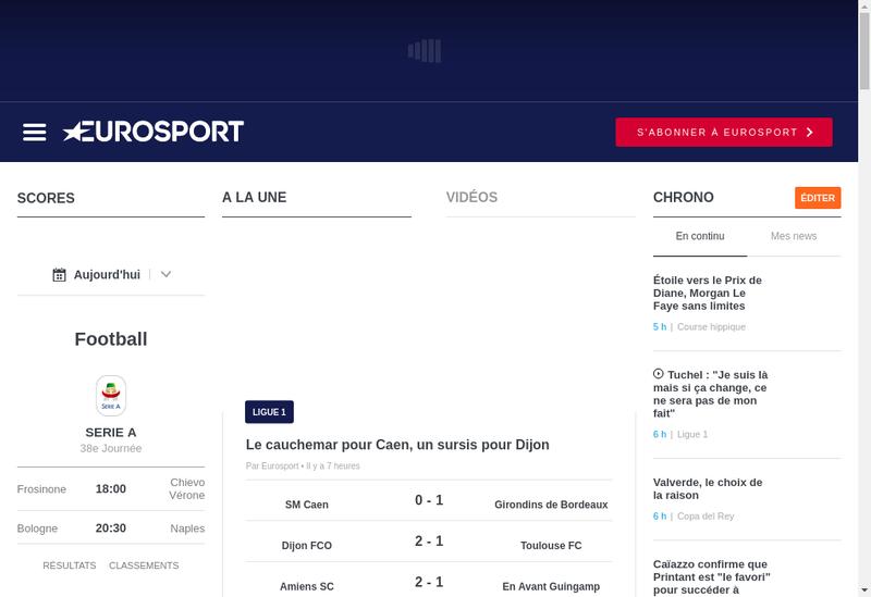 Capture d'écran du site de Eurosport