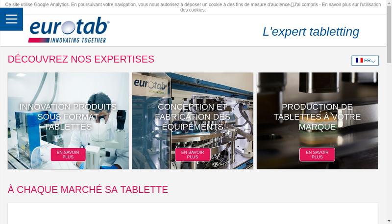 Capture d'écran du site de Eurotab Technologies