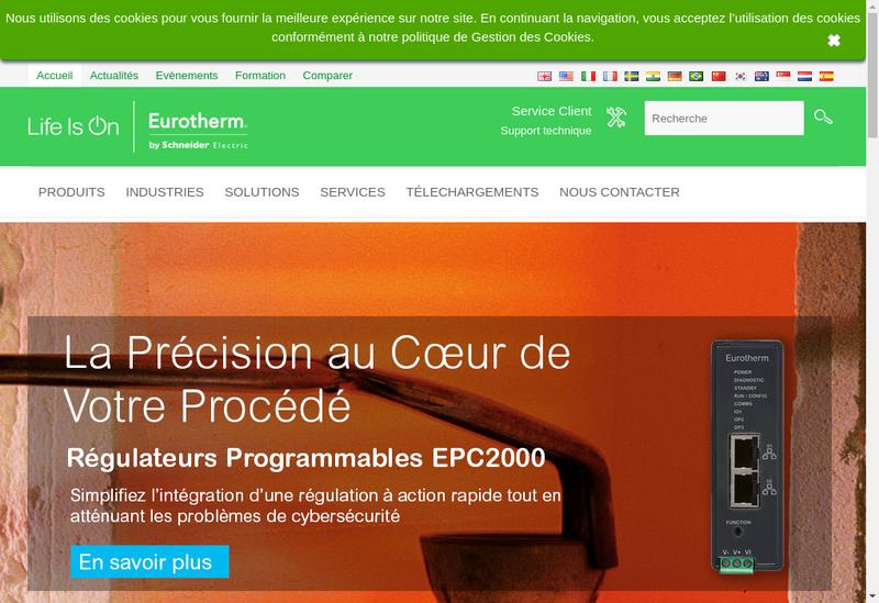 Capture d'écran du site de Eurotherm Automation