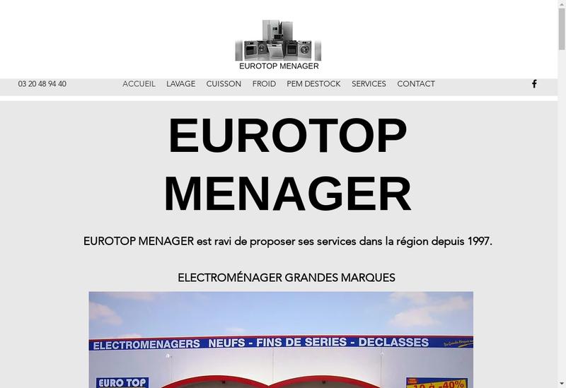 Capture d'écran du site de Eurotop Menager