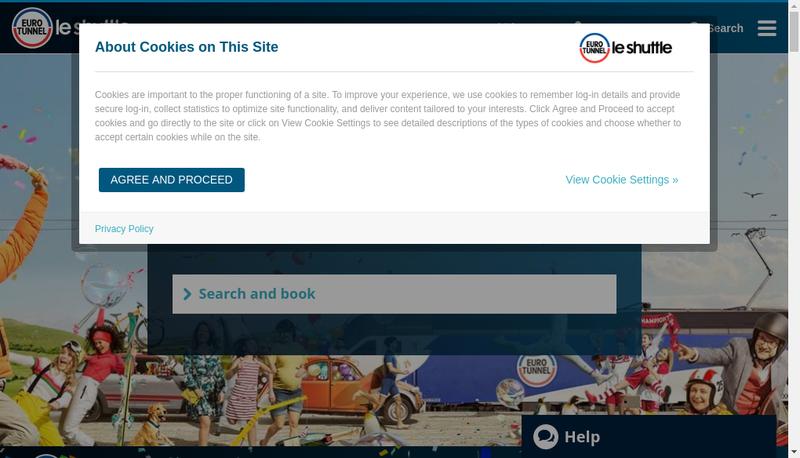 Capture d'écran du site de Eurotunnel Services Gie