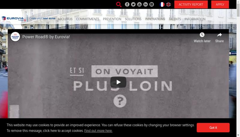 Capture d'écran du site de Eurovia Management