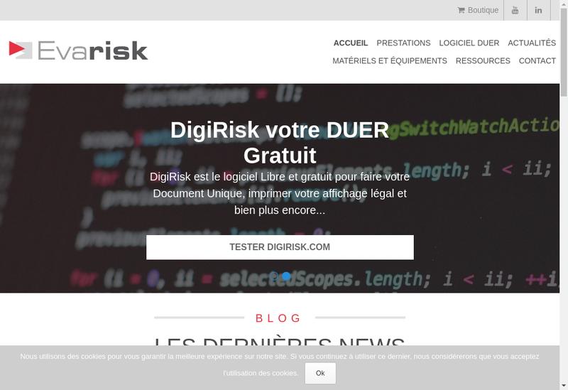 Capture d'écran du site de Evarisk