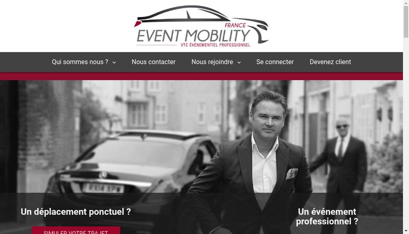Capture d'écran du site de Event Mobility France