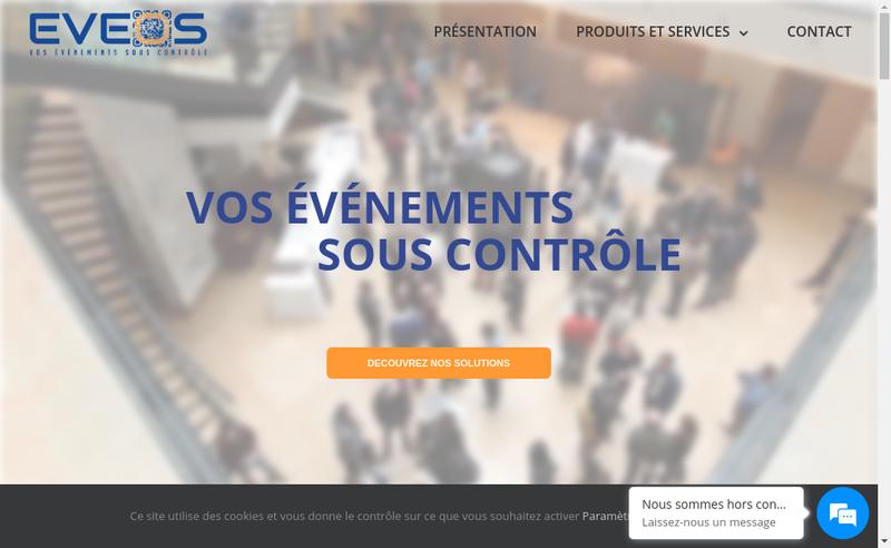 Capture d'écran du site de Eveos