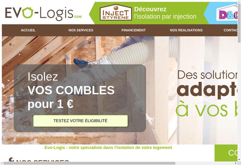 Capture d'écran du site de Evo Logis