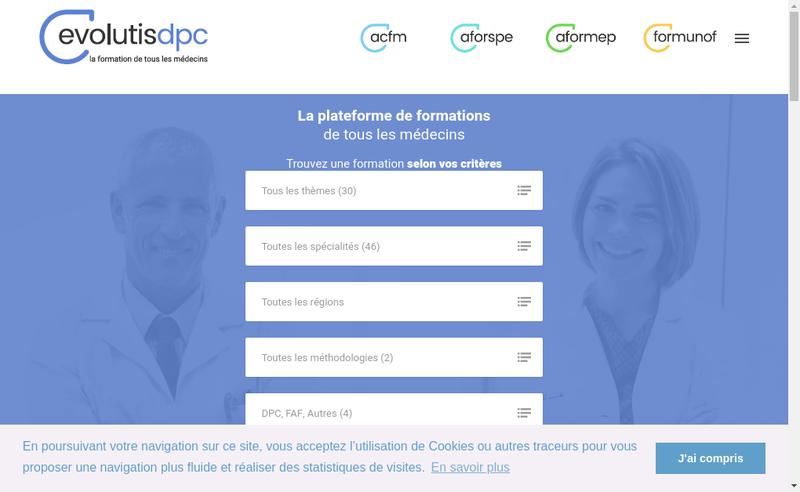 Capture d'écran du site de Evolutis Dpc
