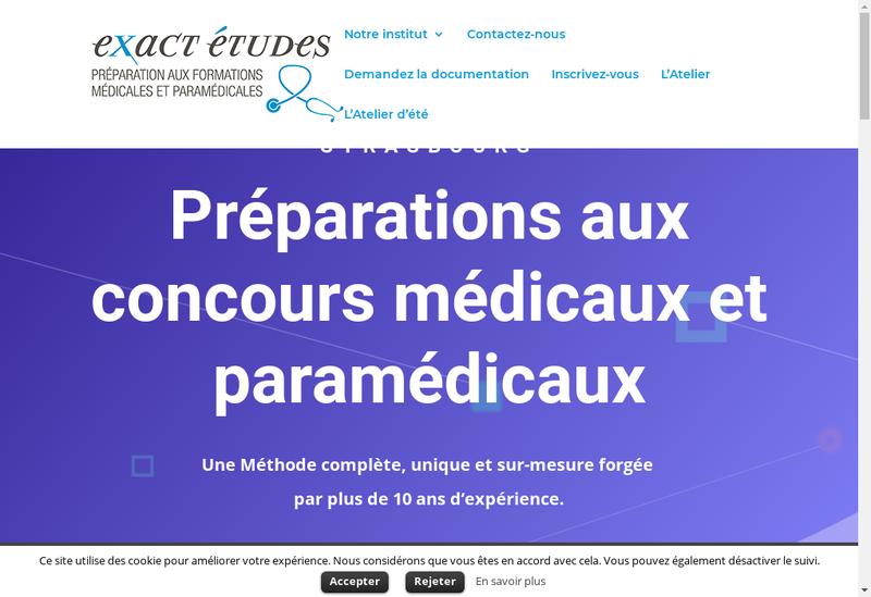 Capture d'écran du site de Exactetudes