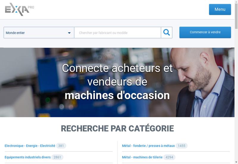 Capture d'écran du site de Exapro