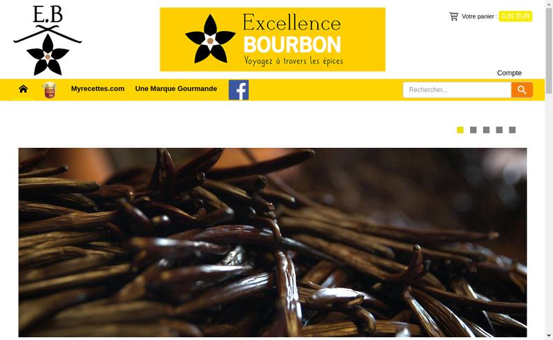 Capture d'écran du site de Excellence Bourbon