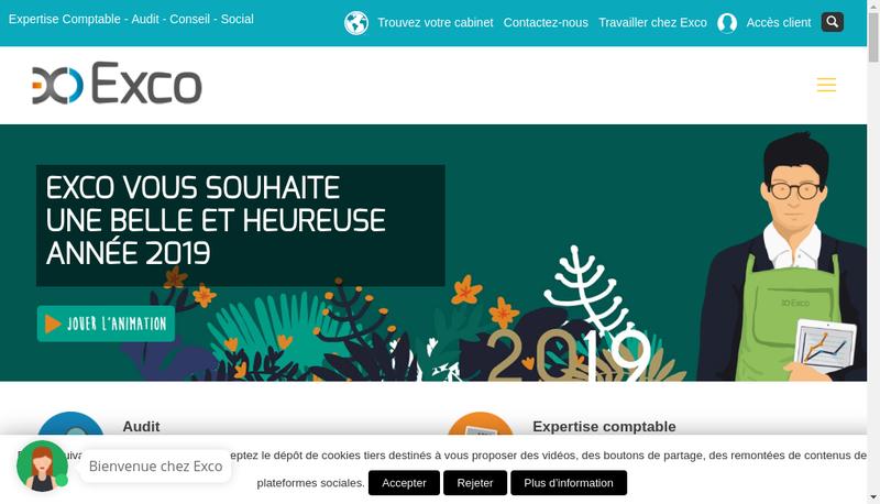 Capture d'écran du site de Exco Hesio