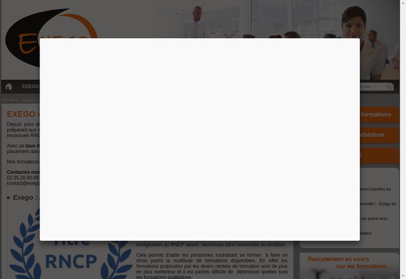 Capture d'écran du site de Exego
