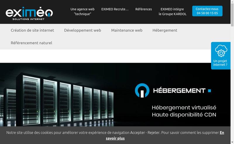 Capture d'écran du site de Eximeo SAS