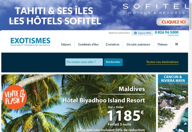 Capture d'écran du site de Exotismes