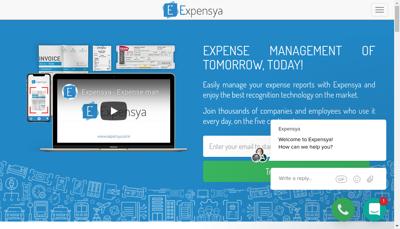 Capture d'écran du site de Expensya