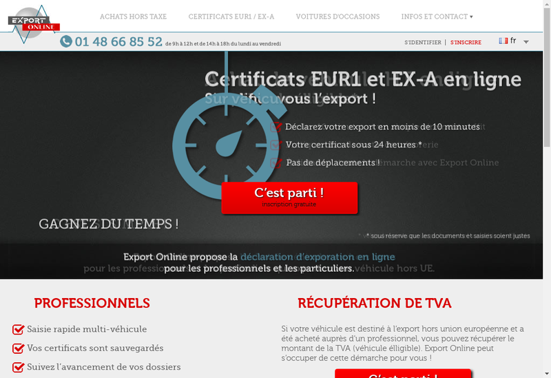 Capture d'écran du site de Export Online