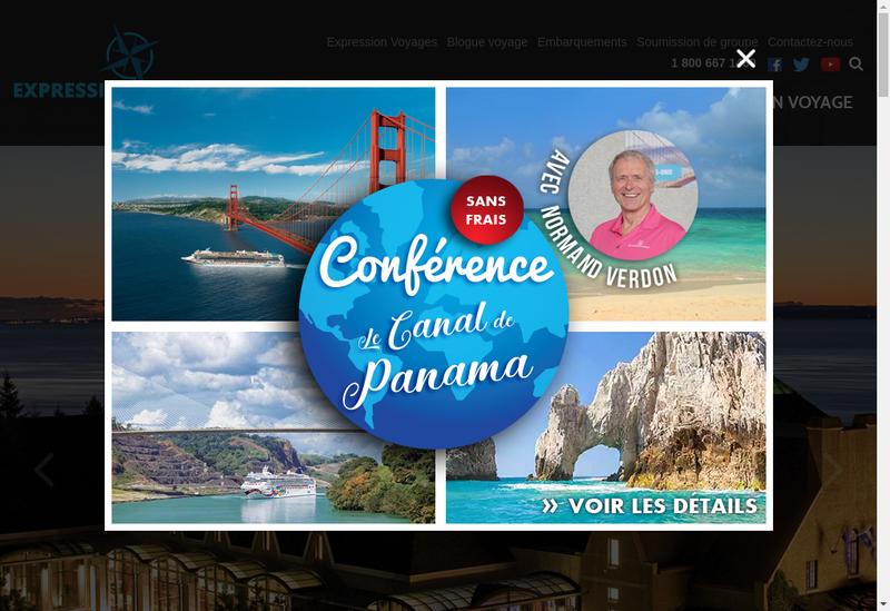 Capture d'écran du site de Expression Voyage