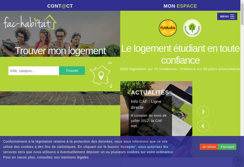 Capture d'écran du site de Fac Habitat