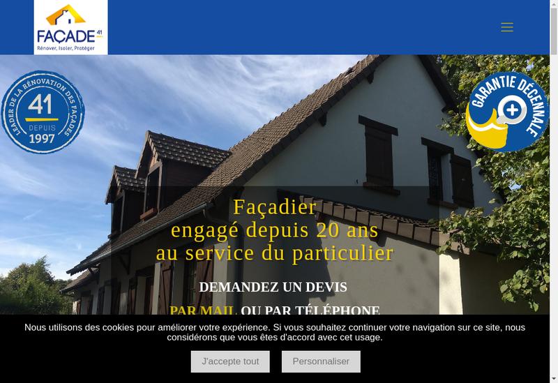 Capture d'écran du site de Facade 41