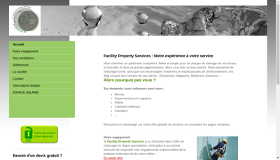 Capture d'écran du site de Facility Property Services
