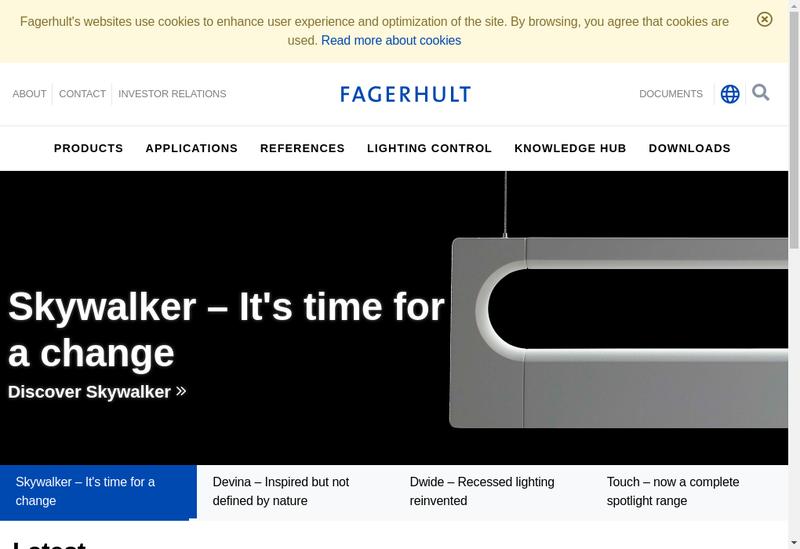 Capture d'écran du site de Fagerhult France