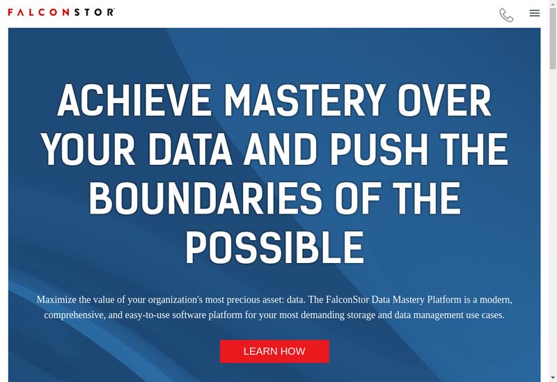 Capture d'écran du site de Falconstor Software SAS