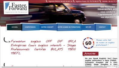 Capture d'écran du site de Faster Forward