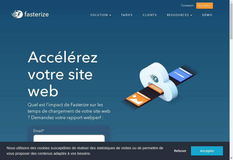 Capture d'écran du site de Fasterize