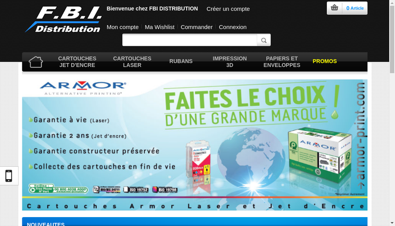 Capture d'écran du site de Fbi Distribution