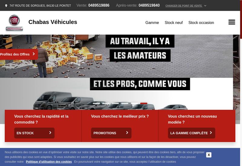 Capture d'écran du site de Chabas Vehicules