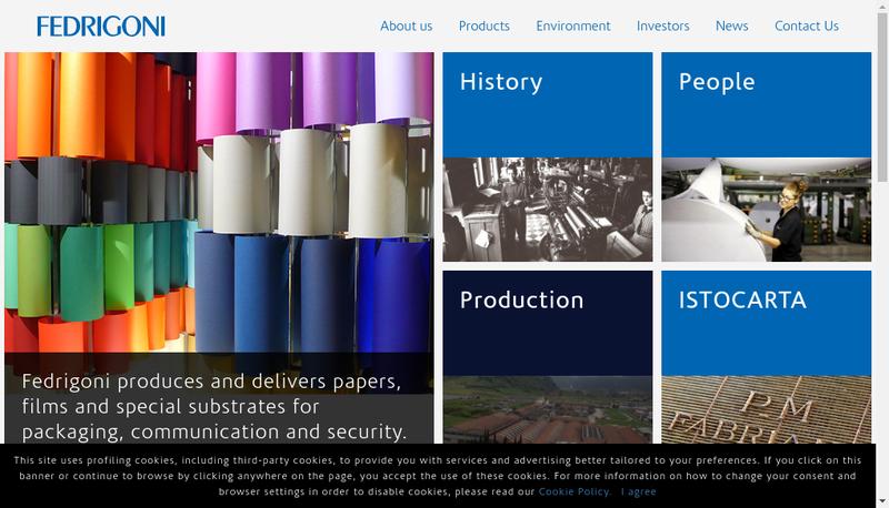 Capture d'écran du site de Fedrigoni France