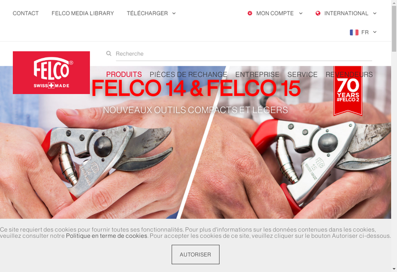 Capture d'écran du site de Felco France