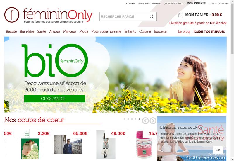 Capture d'écran du site de Femininonly - Bienetreonly - Ambuleonly -