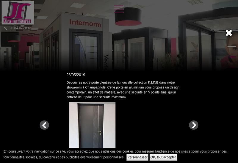 Capture d'écran du site de Jura Fermetures