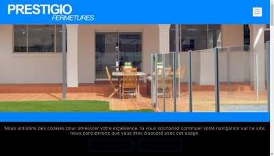Capture d'écran du site de Prestigio Fermetures