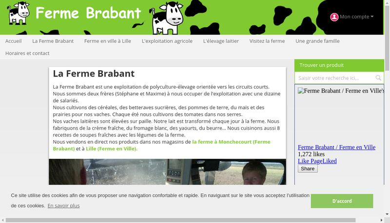 Capture d'écran du site de SARL Ferme Brabant