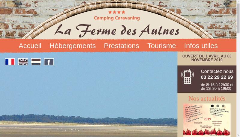 Capture d'écran du site de La Ferme des Aulnes
