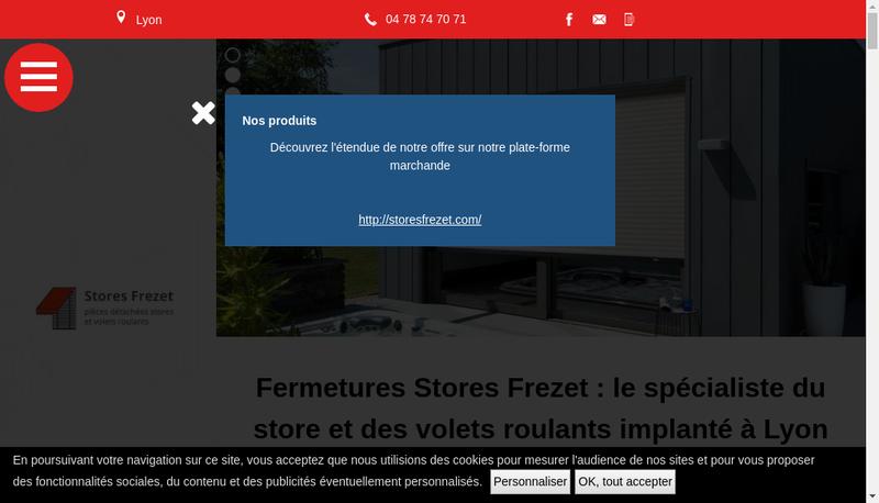 Capture d'écran du site de Fermetures et Stores Frezet